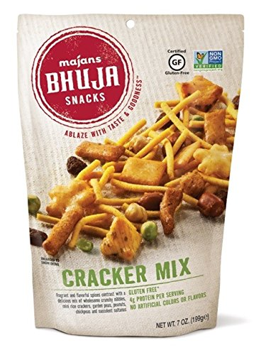 Majans Bhuja Gluten Free Snack Mix, Non-GMO   No Preservatives   Vegetarian Friendly   No Artificial Colors or Flavors, Cracker Mix, 7 Ounce (Pack pf 6) ()