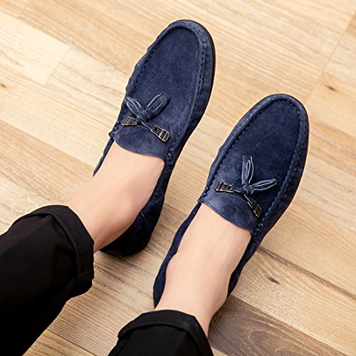 TDA Mens Casual Suede Tassels Driving Walking Fashion Loafers Boat Shoes Blue XBuUb9