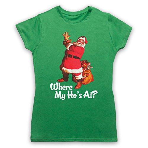 Where My Ho's At Santa Claus Father Christmas Funny Parody Slogan Camiseta para Mujer Verde