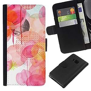 WINCASE Cuadro Funda Voltear Cuero Ranura Tarjetas TPU Carcasas Protectora Cover Case Para HTC One M9 - blanco rosa de lunares amarillo
