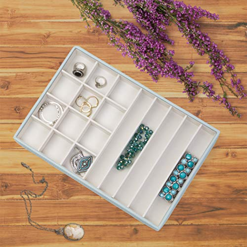 Richards Homewares JEWELREY Organizer Trays, Display and Storage, Holder for Earrings, Bracelets, Necklaces All Kinds of Jewelries 17 Compartment-Porcelain Blue, 12 x 8 x 1.4,