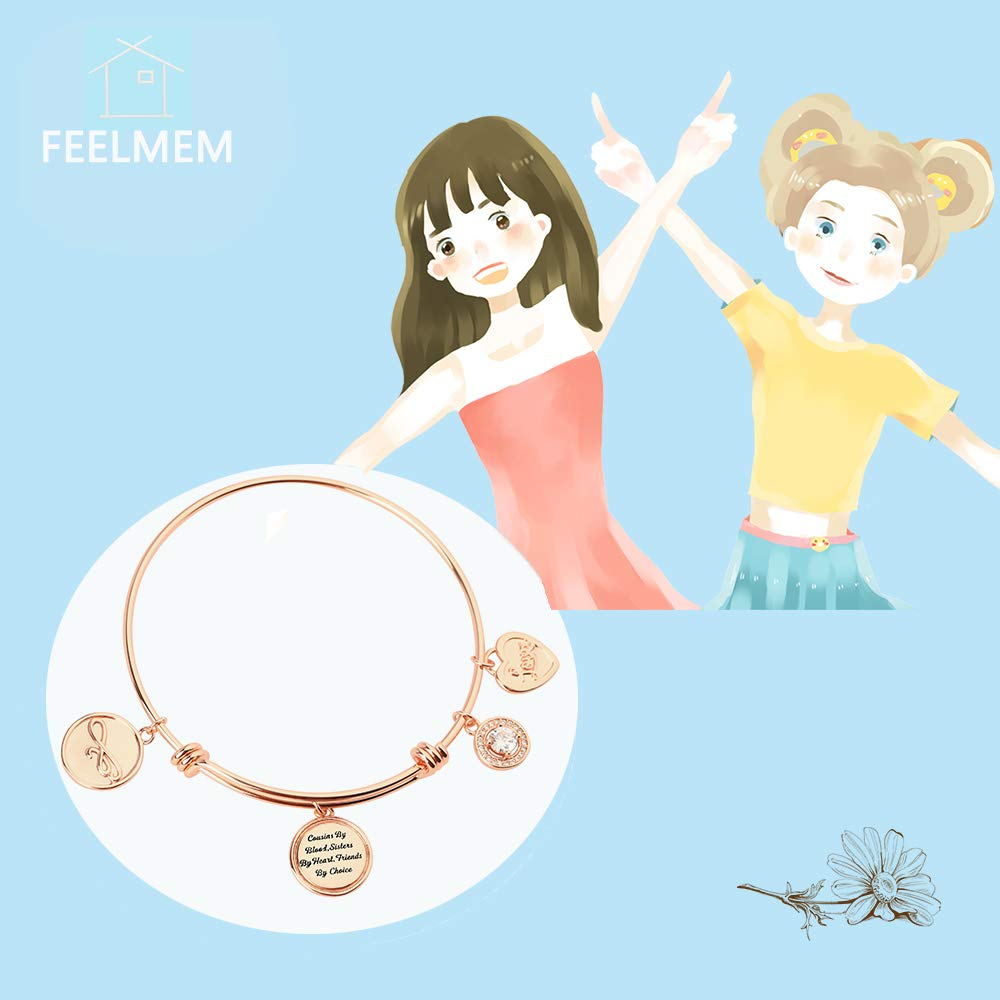 FEELMEM Cousins Cousins by Blood Sisters by Heart Friends by Choice Bangle Bracelet Cousin Jewelry Gift for Cousin BBF Best Friend