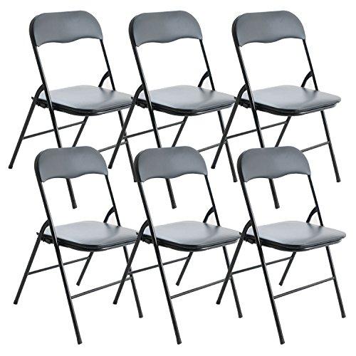 Handi-Craft Black Folding Chair w/ Padded Seat, Steel, Pack of 6