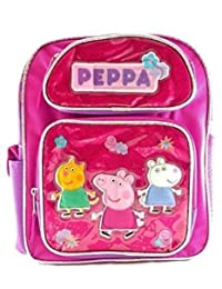 """Small Backpack - Peppa Pig - Canvas Pink w/Friends 12"""" New 139432"""