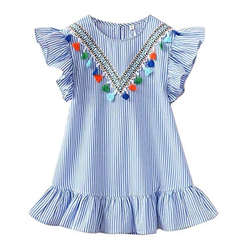 (YOUNGER TREE Toddler Baby Kids Girl Princess Dress Flare Sleeves Summer Casual Dress Sundress Clothes Outfits (4T, Blue Striped Floral Princess Dress))