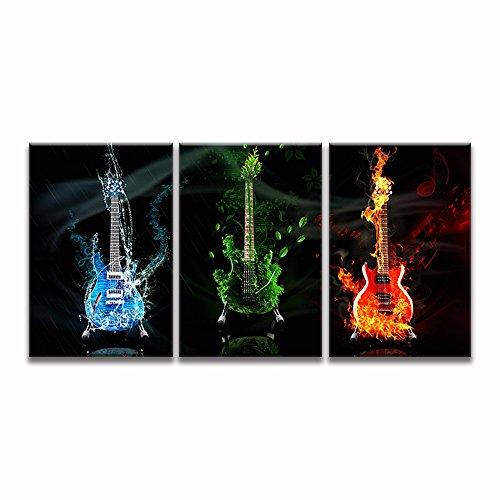 Music Guitar Wall Art Abstract Canvas Prints Art Home Decor for Living Room Modern Black and White Red Pictures 3 Panel Large Posters HD Printed Painting Framed Ready to Hang 16x24inch (Wall Guitar Abstract)