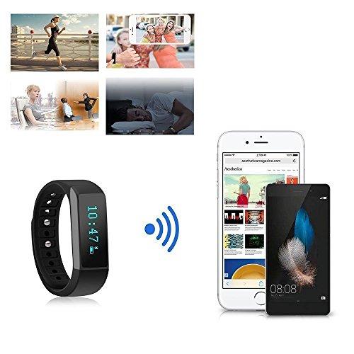 Dragon hub I5 Plus IP65 Waterproof Smart Bracelet fitness tracker sport wrist Bluetooth 4.0 Pedometer Sleep Monitor 0.91'OLED TPU Wristband compatible with Android and IOS Smartphones (black)