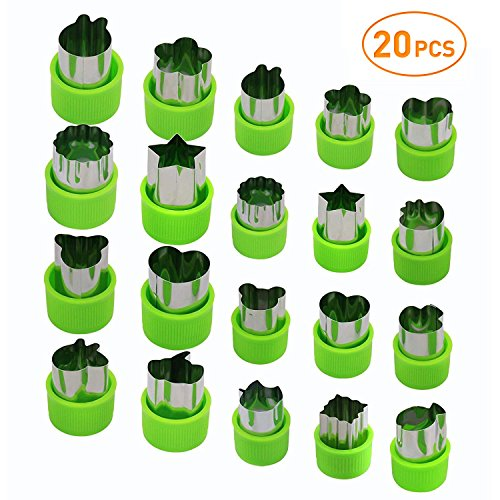 Joyoldelf Vegetable Cutters Set (20 Pcs), Stainless Steel Fruit and Cookie Cutter Shapes Cheese Presses Mold with Anti-Slip Protection Handle, for DIY Fun Food & Decoration by Joyoldelf
