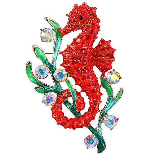 - EVER FAITH Austrian Crystal Enamel Adorable Sea Horse with Seaweed Brooch Ruby Color Gold-Tone