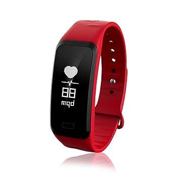 SLGJYY Smart Pulsera Tensiómetro de frecuencia Cardíaca Paso Salud Pulsera Práctica Touch Salud Smart Pulsera controlar, Color Rojo: Amazon.es: Deportes y ...