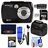 Polaroid iS048 Waterproof Digital Camera (Black) with 32GB Card + Case + Selfie Stick + Float Strap + Cleaning Kit
