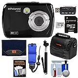 Polaroid iS048 Waterproof Digital Camera (Black) with 32GB Card + Case + Selfie Stick + Float Strap + Cleaning Kit