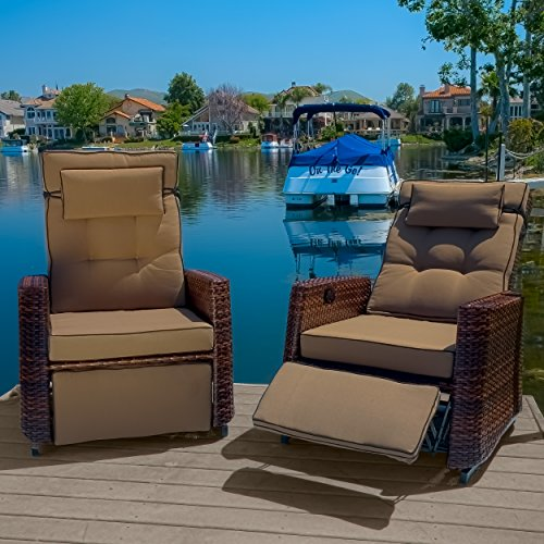 Great Deal Furniture 270176 Westwood Outdoor Glider Recliner Chairs (Set of 2), Brown