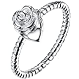 LWLH Womens 925 Sterling Silver Plated Clear Roses Flower Love Heart Eternity Wedding Engagement Ring