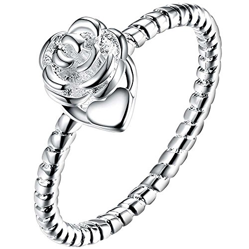 LWLH Womens 925 Sterling Silver Plated Clear Roses Flower Love Heart Eternity Wedding Engagement Ring Szie - Sterling Silver Ring Hearts Plated