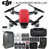 DJI Spark Portable Mini Drone Quadcopter Fly More Combo Hardshell Backpack Ultimate Bundle (Lava Red)