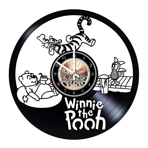 Winnie-the-Pooh Teddy Bear Piglet Eeyore Kanga Roo and Tigger Vinyl Record Wall Clock - Really the Most Original Gift for Him and Her - Perfect Element of the Interior and Amazing Home Decor Idea