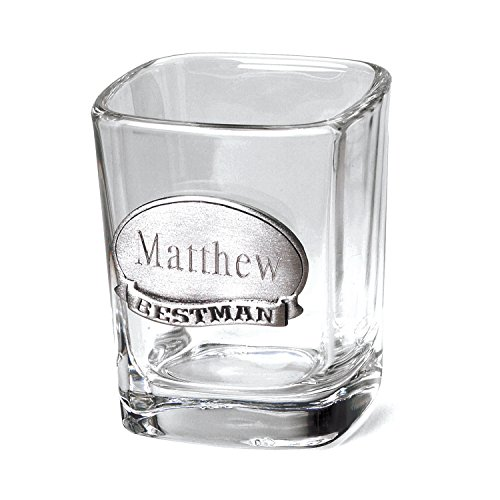 Personalized Pewter Medallion Glass (Engraved Shot Glass - Includes Pewter Medallion - Monogrammed Shot Glass - Custom Shot Glass)