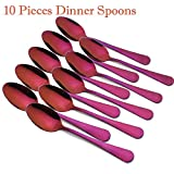 Enwinner 10 Pieces Spoon, 7-Inch Purple Mixing Stirring Metal Reusable Stainless Round Dessert Soup Spoon (Purple)
