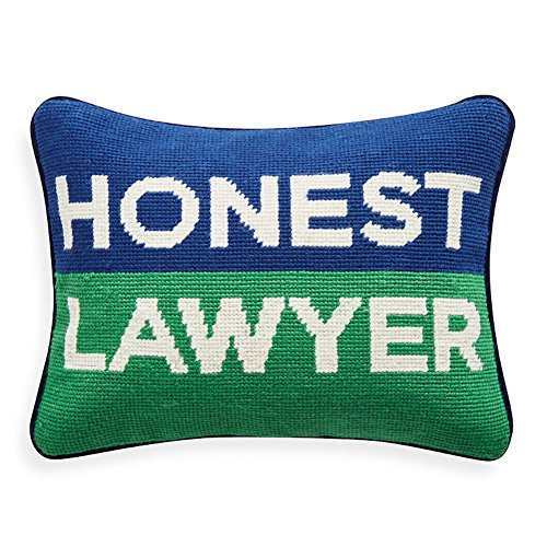 Jonathan Adler Personality Lawyer Needlepoint Throw Pillow, One Size, Blue Green