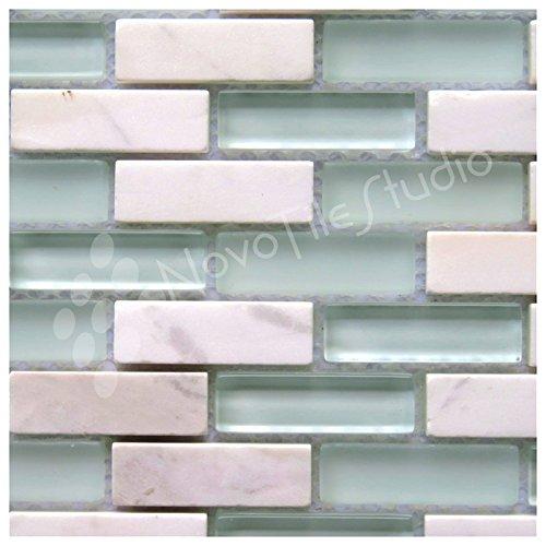 Box 10 Tiles White Marble & Glass Mosaic Tile 12''x12'' ROMA-MX012 (10) by NovoTileStudio.com