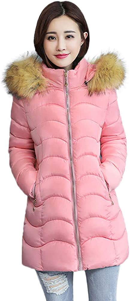 Womens Warm Thicken Coat Fur Collar Hooded Jacket Slim Winter Parka Outwear Tops