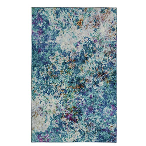 Mohawk Home Z0137 A416 096120 EC Art Explosion Multicolored Abstract Marble Precision Printed Area Rug, 8'x10', Blue