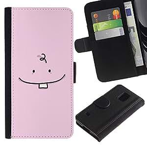 iBinBang / Flip Funda de Cuero Case Cover - Diente de bebé minimalista Dibujo Rosa lindo - Samsung Galaxy S5 V SM-G900