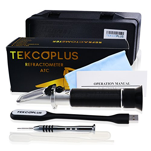 Optics Alcohol Refractometer 0-80% Volume Percent ATC, for Alcohol Liquor Production, Spirit Alcohol Measurement, Ethanol with Water, Distilled Beverages, Winemakers, with Extra LED Light & pipettes by TEKCOPLUS (Image #2)