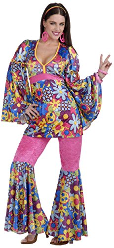 Forum Novelties Women's 60's Revolution Hip Flower Child Go-Go Costume, Multi, -