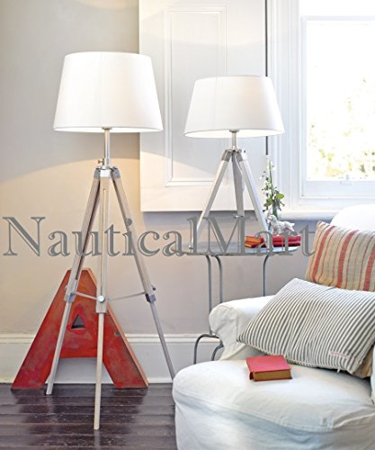 Floor Lamp Natural Wooden Tripod Table Lamp Classical Industrial Floor Lamp- Set Of Two by NAUTICALMART
