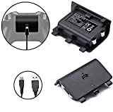 Mondpalast Battery Pack (2x 2400mAh Rechargeable Battery + 2x Charging Cable) for Microsoft Xbox One xbox 1