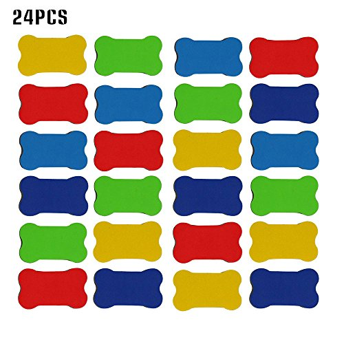 (Kargou 24pcs Magnetic Whiteboard Eraser Small Whiteboard Dry Erasers for Dry Erase Pens, Markers, Kids, Home, School and Office Random Color)