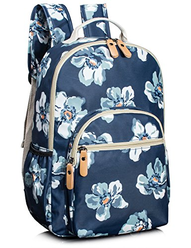 Leaper Floral Water-resistant School Backpack for Girls Travel Bag Bookbag Blue