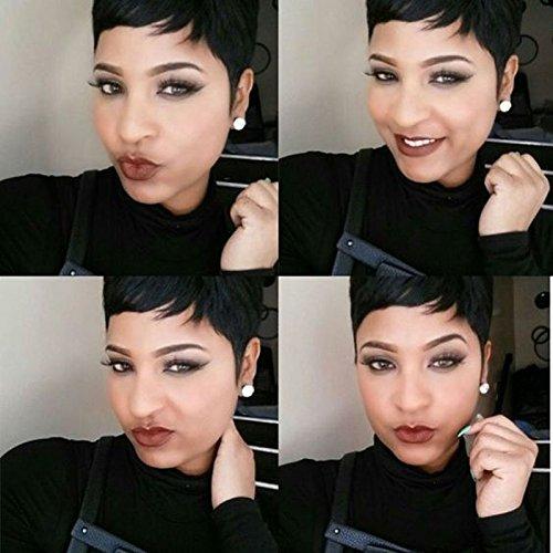 HOTKIS 100% Human Hair Short Cut Wigs Glueless Pixie Short Cut Natural Hair Wigs (Boy Cut-1b#)