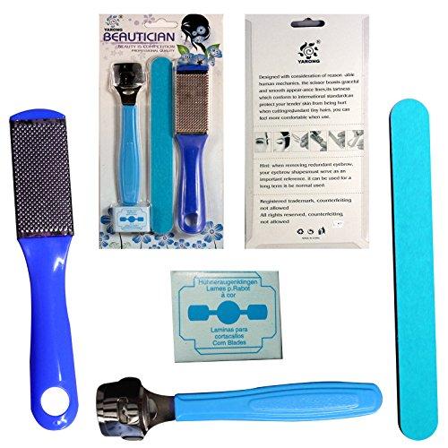3 шт Dead Skin Remover Cutter бритвы Файл Kit Spa & 10 Лезвия для черствым / Кукуруза / твердая кожа / кутикулы - синий