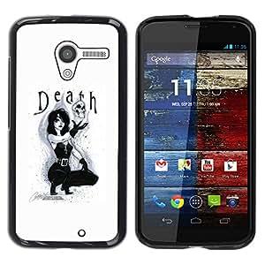 For MOTO X / XT1058 / XT1053 / XT1052 / XT1056 / XT1060 / XT1055 Case , Lady Sexy Text Black White Skull - Diseño Patrón Teléfono Caso Cubierta Case Bumper Duro Protección Case Cover Funda