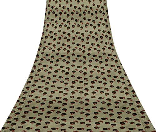 Svasti Dot & Artistic Butterfly VintageSari Refurbished Light Gray 100% Pure Silk Printed Craft Fabric 5 Yard