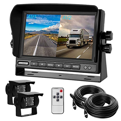 "Dual Backup Cameras and Monitor Kit Split Screen 7"" LCD Reversing Monitor,2 Rear View Camera for Trucks/RV/Bus/Trailer/Van/Campers with 170° Wide Angle, IP68 Waterproof,18IR Night Vision"