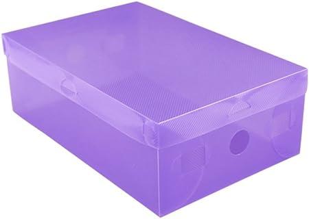 kentop Zapatos Caja Rodamiento de buzón Buzón Caja transparente plegable caja de zapatos para guardar botas plana, plástico, morado, 27,5×18×9,5 cm: Amazon.es: Hogar