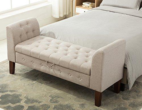 Bedroom Upholstered Ottoman (Tufted Storage Ottoman Bench Upholstered Bedroom Bench for Entryway, Hallway, Living Room(53005-B))