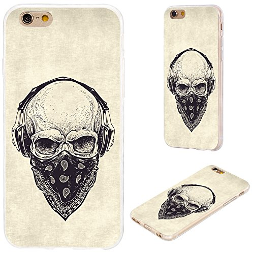 Skull Cover - iPhone 6s Case,iPhone 6 Case,VoMotec [Cute series]Shockproof Anti-scratch Slim Flexible Soft TPU Protective Skin Cover Case For iPhone 6 6s 4.7 inch,dotwork skull with modern street style headphone