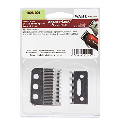 Adjusto Lock (Wahl Professional 0000 Adjusto-Lock 3 Hole Clipper Blade #1026-001 – Designed for Specific Wahl Professional and Sterling Clippers – Includes Oil, Screws, and instructions)