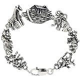 Sterling Silver Noah's Ark Bracelet, 7 inches long