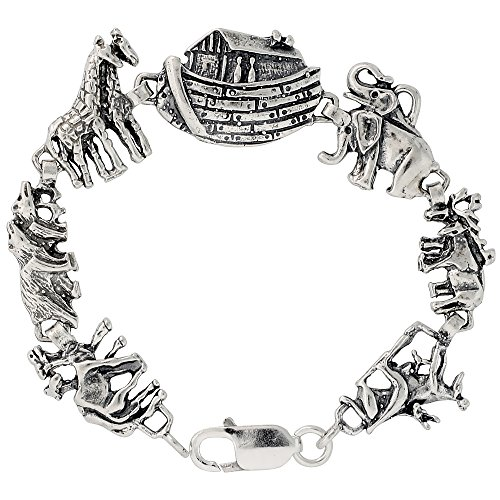 (Sterling Silver Noah's Ark Bracelet, 7 inches long)