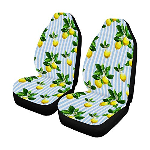 INTERESTPRINT Custom Tropical Lemon Blue Striped Car Seat Covers for Front of 2,Vehicle Seat Protector Fit Most Car,Truck,SUV,Van ()