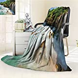 AmaPark Digital Printing Blanket Jogan View in Java Indonesia Tropical Seashore Scenery Green White and Brown Summer Quilt Comforter