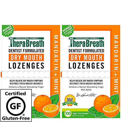 TheraBreath Dry Mouth Lozenges with added ZINC, mandarin mint Flavor, 100 Lozenges (Pack Of 2)