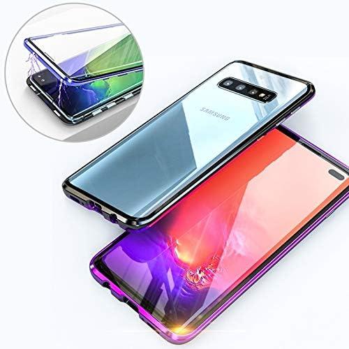 あなたの携帯電話を保護する UltUltraスリム両面磁気吸着角フレーム強化ガラスマグネットフリップケースギャラクシーS10 (色 : Black purple)