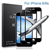 iPhone 6/6s Screen Protector,Airsspu Tempered Glass 3D Touch Compatible,9H Hardness,Bubble Free (2Pack Black)